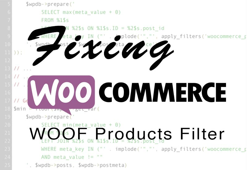 fixing woof products filter plugin