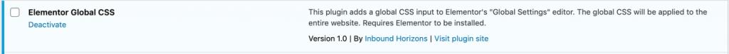 Activate Elementor Global CSS plugin in WordPress